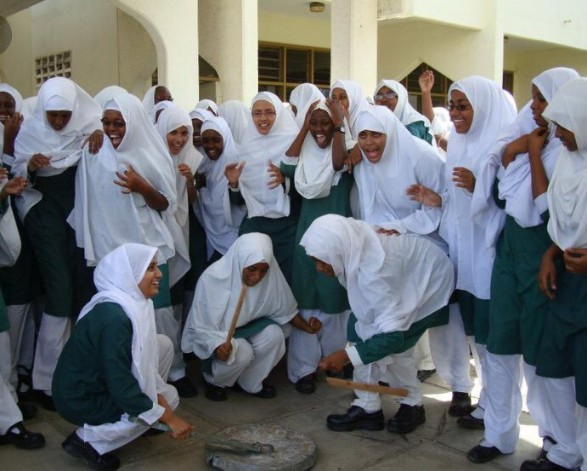 School girls wearing hijab